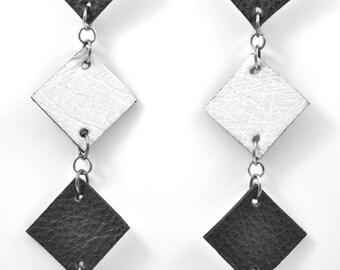 Black and White Leather Diamond Geo Earrings