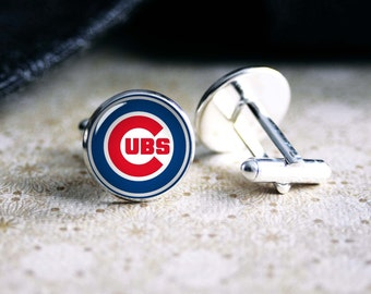 Cubs baseball team cufflinks. Gift idea for men, Fathers day, Christmas, prom, wedding cuff links.