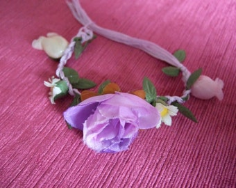 Girls Plaited cord and lilac purple fabric flower bracelet corsage. Weddings, Proms, Festivals, Parties, Flower Girls