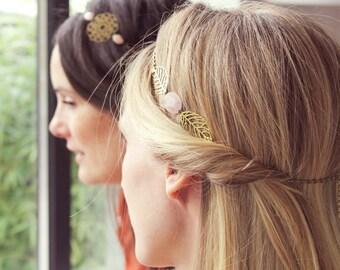 Headband in stones & brass gross Pemberley jewelry hair /Bijou / necklace / Headband /Bijou Bohemia / Bohemia / Head jewelry chain