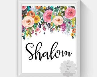 hello Shalom jewish saying printable wall art nursery playroom print home decor floral wall print art quote typography poster print floral