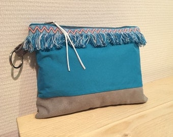 Blue and grey suede clutch.