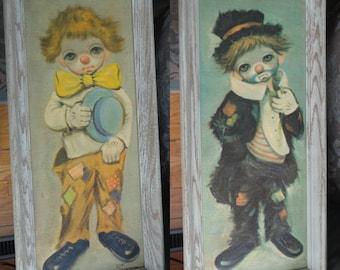 "Set of 2 Ozz Franca Clown Paintings ""Sad Big Eye Hobo Child Boy Clown"""