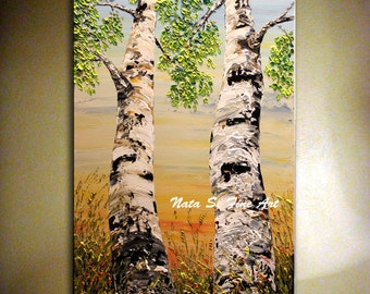 Birch Tree Painting. Original Landscape Painting Palette Knife Impasto Heavy Textured Birch Tree Painting. by Nata S.......MADE to ORDER