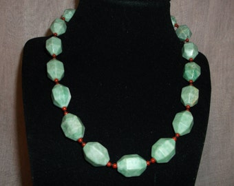 Jade and coral necklace