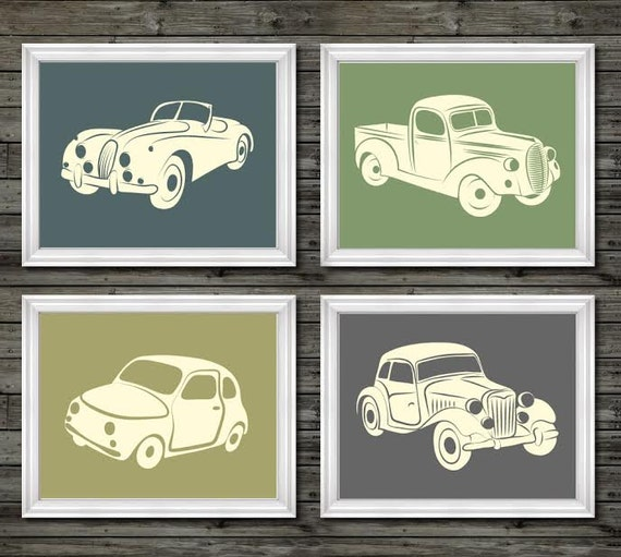 Items similar to vintage car and truck decor vintage for Vintage car bedroom ideas