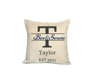 Wedding anniversary throw pillow covers 18x18 Inital decorative pillow cases Personalized cushion covers 22x22 Anniversary cushion cases