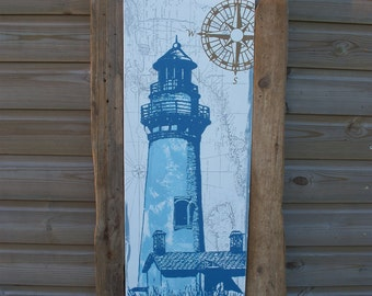 Driftwood planks and oil painting print on canvass