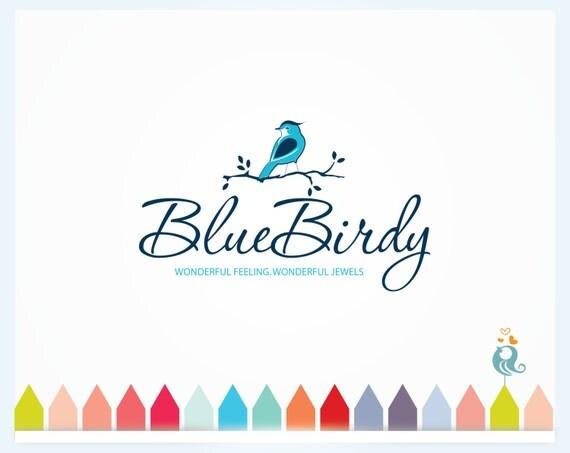 Blue Bird Logo Design, Bird on Leafy Branch in Nature Design, Simple ...