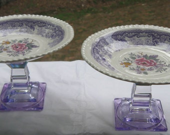 Upcycled Spode Dessert Saucers on Crystal Glass Pedestal Cup Cake Stand Pair