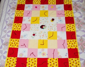 Ladybug with Embroidery Baby Quilt