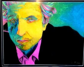 Framed Bob Dylan hand colored print