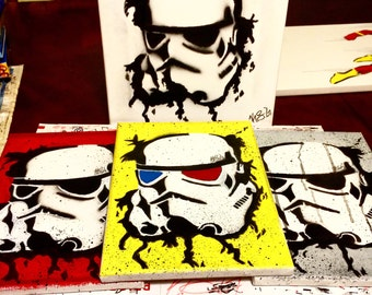 Star Wars Stormtrooper Art Painting Acrylic Canvas Splatter 3D 9x12 Red Yellow Gray