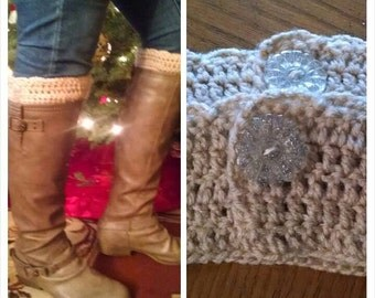 Handmade Boot Cover with Button and Lace