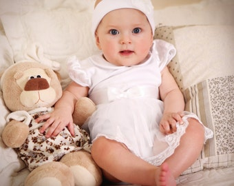 Baby girl baptism dress, Handmade baby dress white, Baby christening dress, Newborn girl infant onesie, Cheap baby clothes, Three Snails