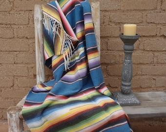 Vintage Mexican serape blanket rug cozy wrap rustic hacienda fringe lovely colors home decor