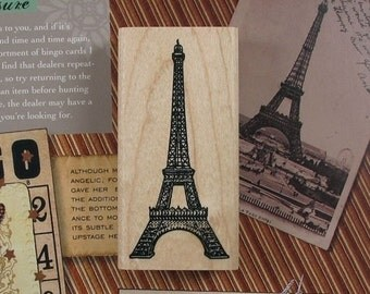 1pc Zakka Vintage Scrapbooking DIY Wooden Rubber Paris EIFFEL TOWER Deco Stamp