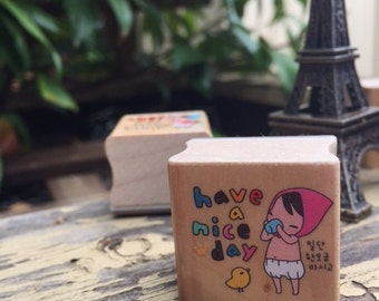Red Riding Hood Girl HAVE A NICE DAY wooden rubber stamp