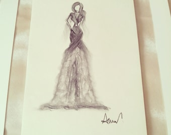 charcoal Fashion Sketch * Sweet Evening *