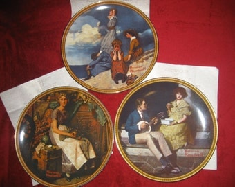 SALE !!! Vintage Lot of 3 Norman Rockwell's Rediscovered Women Plates / With C.O.A's