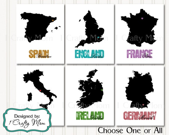 6 Country Silhouette England France Spain Ireland Italy