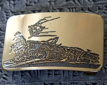 Post Apocalyptic brass belt buckle