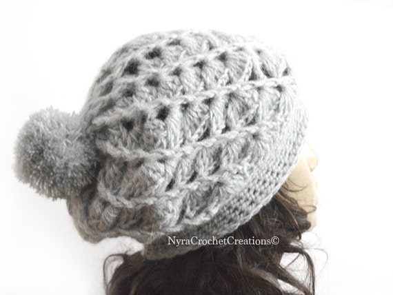 Spiral Ribbed Shell Women Hat Gray Slouch Hat Gray by Nyrra