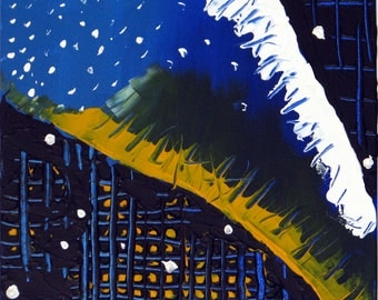Original Abstract Painting Acrylic City Monster 12X12 Modern Montreal