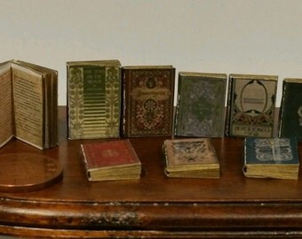 dolls house minature books, Tudor style job lot of 9 books with print! NEW !