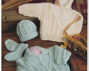 cardigan hoody hat and socks aran knitting pattern 99p