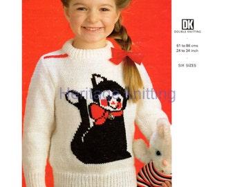 cat jumper dk knitting pattern 99p pdf