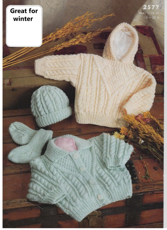 Aran Sock Knitting Pattern : cardigan hoody hat and socks aran knitting pattern 99p ...