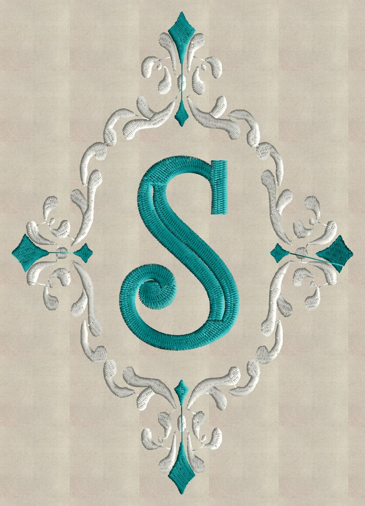 Font frame monogram embroidery design not by stitchelf