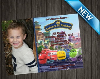 Chuggington Invitation with Photo - Printable Chuggington Invitation - Personalized Chuggington Birthday Party Invite Custom Digital