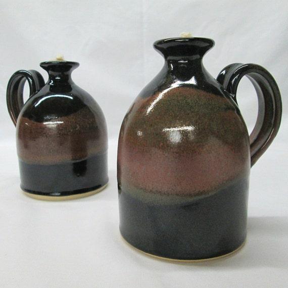 Handmade Ceramic Oil Lamps : Oil lamp burning candle lantern handmade stoneware in