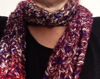 Knitted red scarf, purple scarf, ladies scarf, red scarf, winter scarf, knitted scarf, womens scarf, rainbow scarf, knit scarf