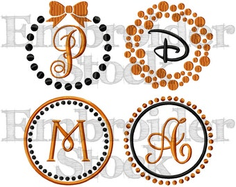 """Dotted Monogram Design Frames Set For Machine Embroidery Use - Each Design Includes Two Sizes 4"""" & 5"""""""