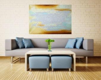 Abstract art,aqua blue, brown