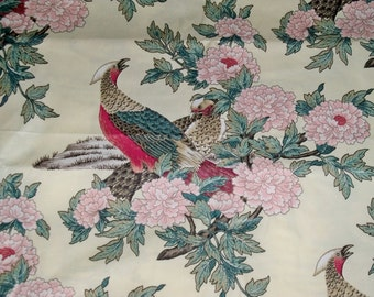 STROHEIM & ROMANN PHEASANT Bird Toile Cotton Chintz Fabric 10 yards Alabaster Cream Crimson Green Multi