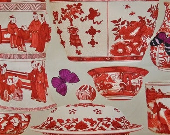 MANUEL CANOVAS CHINOISERIE Jardin Bleu Toile Fabric 10 Yards Red Taupe