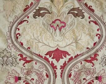 DESIGNER ART NOUVEAU Deco Fleur de Lis Embroidered Silk Fabric 10 Yards Cream Burgundy Green Multi