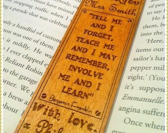 Personalised 'Thank you' Teacher bookmark inc. Benjamin Franklin quote