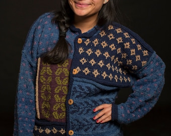 Indigenous Bolivian Sweater (Blue and Black Button Up)