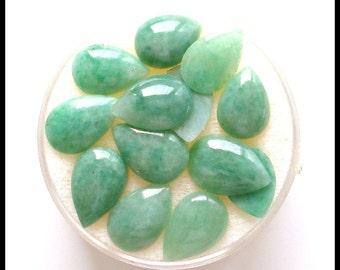 S A L E 75% OFF!!! GREEN JADEITE Jade Pear Cabochon (6x8 - 6.5x9.5mm)