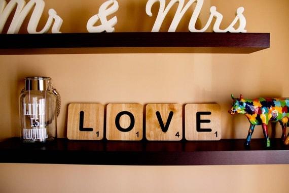 Letras scrabble xxl para decorar tu hogar o tu boda ideales - Letras scrabble madera ...