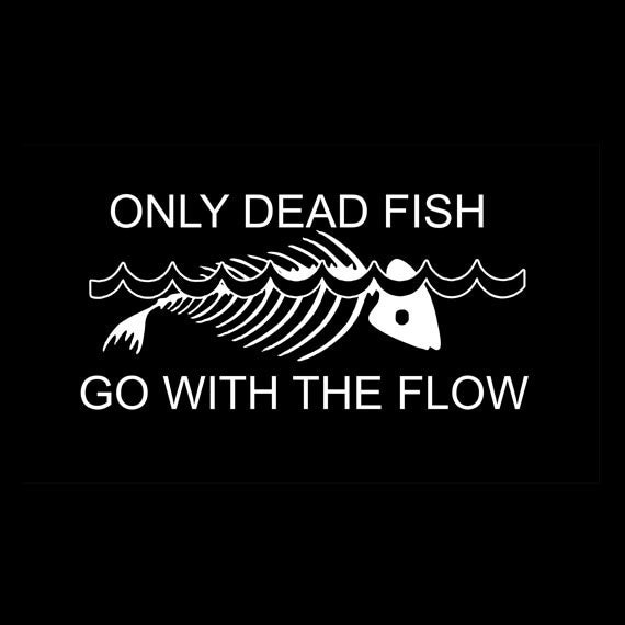 Only dead fish go with the flow decal for Only dead fish go with the flow