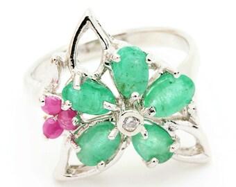 Emerald & Ruby Ring. 925 Silver. Size 7 1/4. TMPL_SKU001111