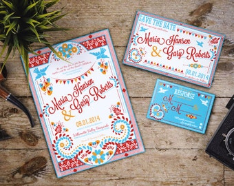 Mexican Wedding Invitation Set, colorful, Latin, embroidery, festive, ; Downloadable Custom; PDF