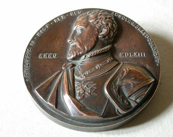 Copper medallion of 400 years commemoration of  El Escorial Monastery and Philip II, 1.963