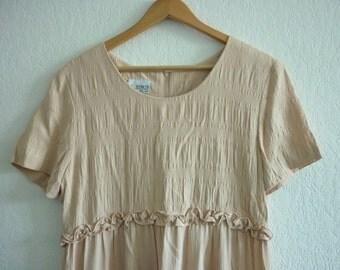 1990s pretty putty beige dress | 90s baby doll dress | long oversized dress | size medium m